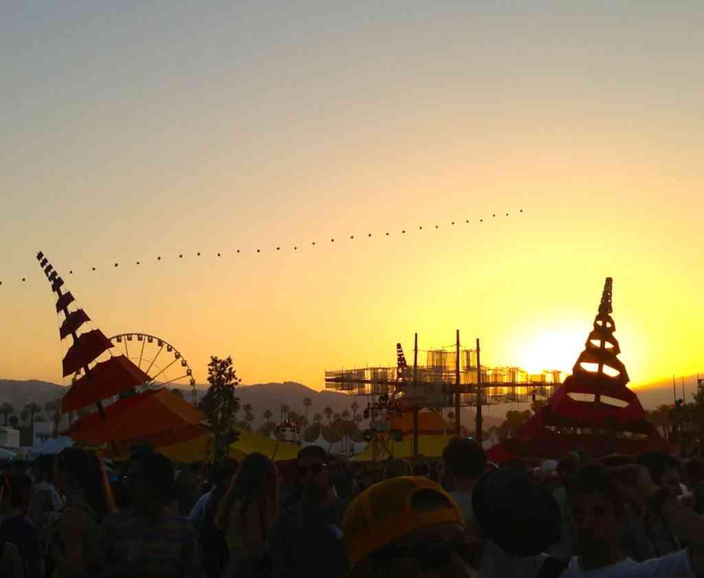 Sunset behind DoLab at Coachella