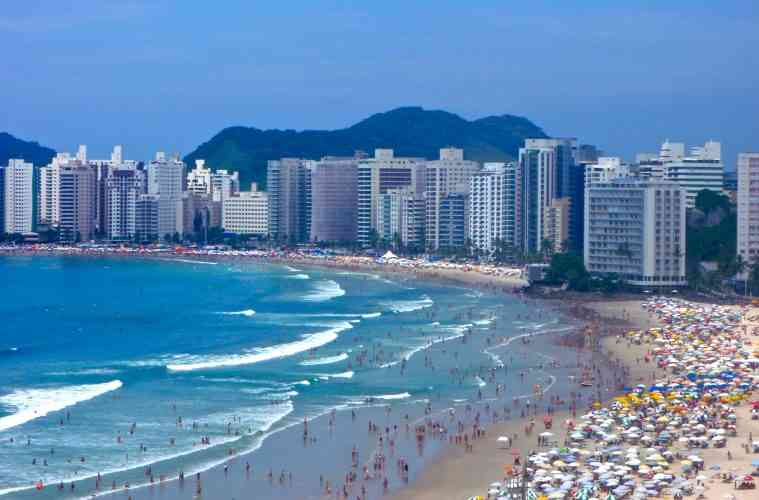 High-Rises on the Beach in Guarujá, Brazil