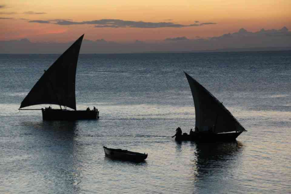 Traditional sail boats in Zanzibar