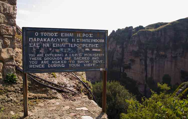 Monastery Rules Sign Meteora