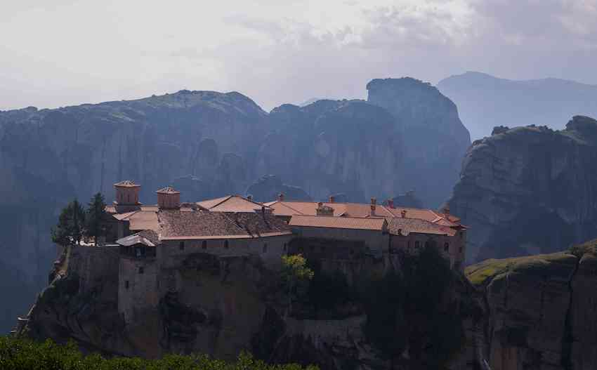 Monastery Roof and Cliffs in Meteora
