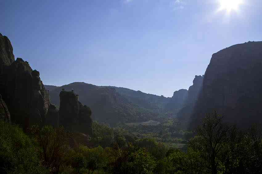 meteora morning sun in valley