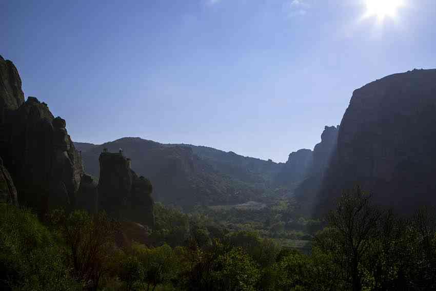 meteora morning sun in valley