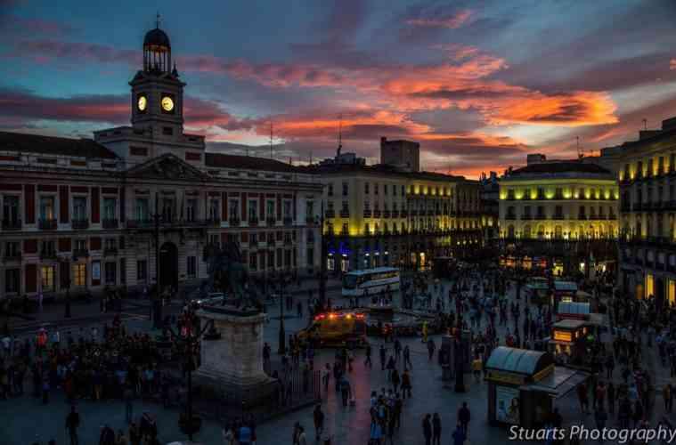 Madrid square sunset