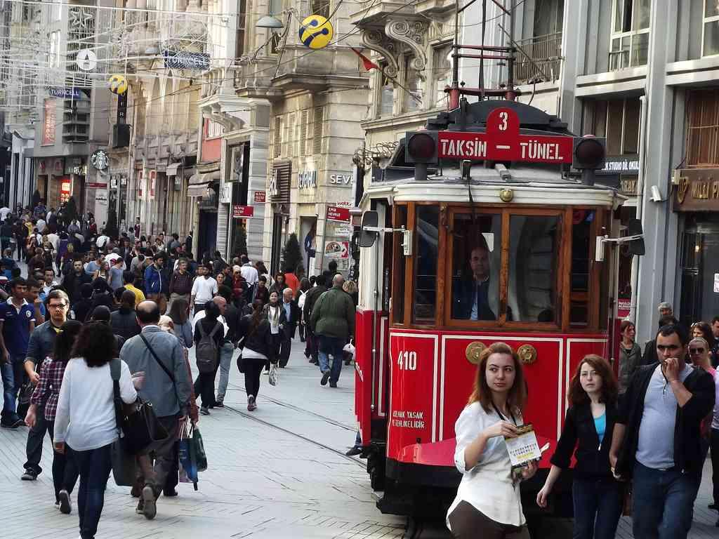 Istiklal Caddesi/Taksim..The street is Istiklal Of Taksim in Istanbul