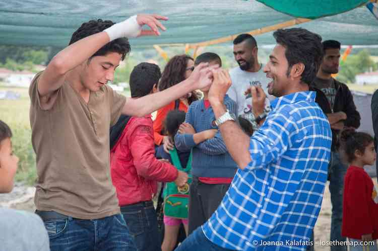 Idomeni refugee camp dance