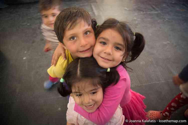 Kids Hugging in the refugee camp