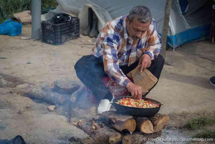 Preparing Food in the refugee camp