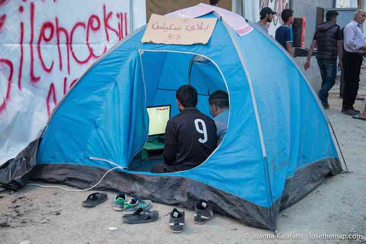 This tent could be rented hourly to play video games in the refugee camp.