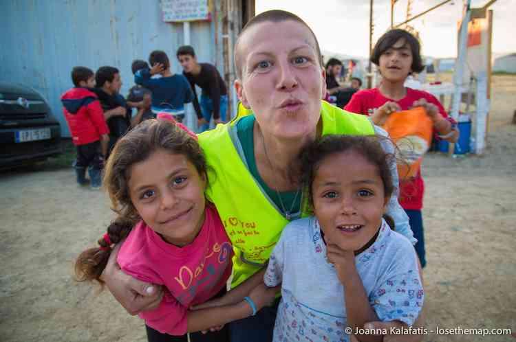 Volunteer & Children refugee camp