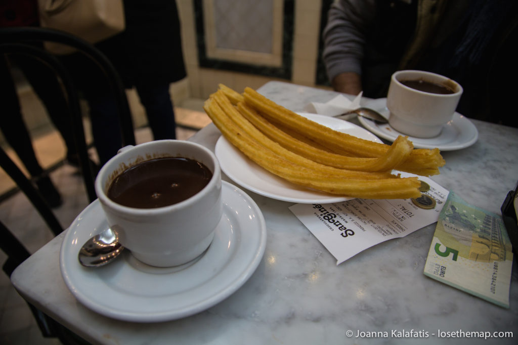Hot chocolate and churros at Chocolateria San Gines