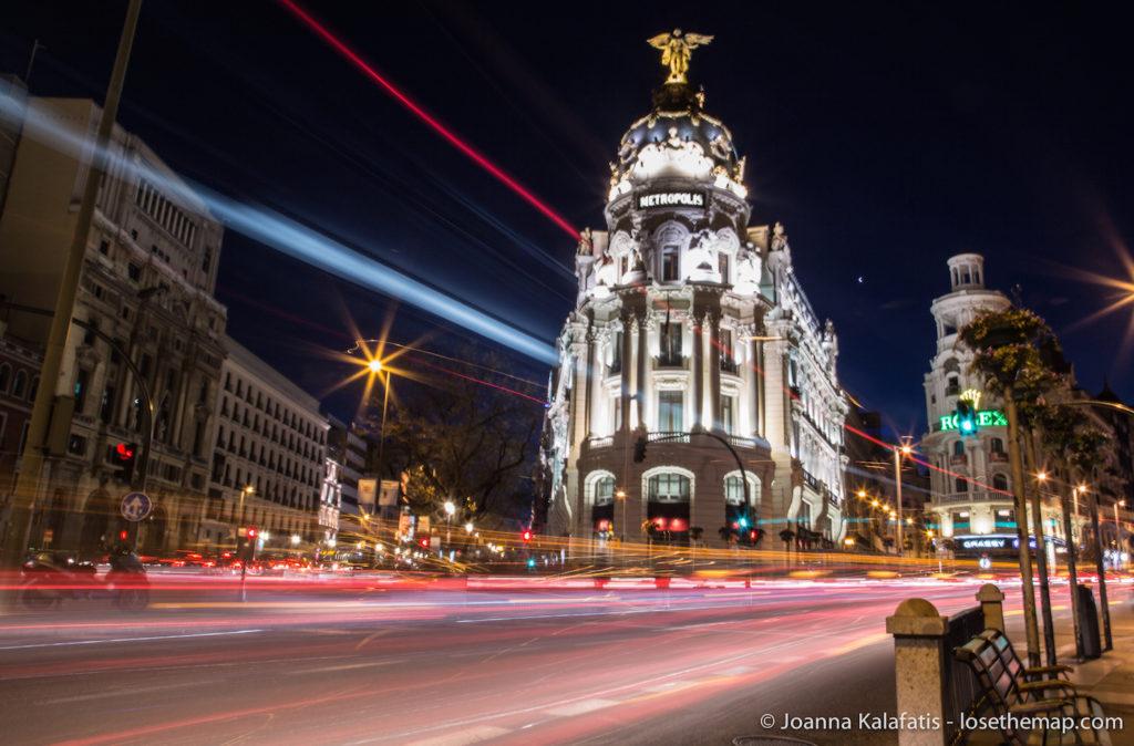Metropolis Building Madrid at night