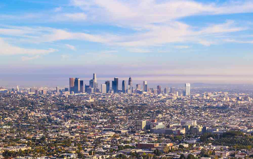 Clear skies and a downtown view of LA.