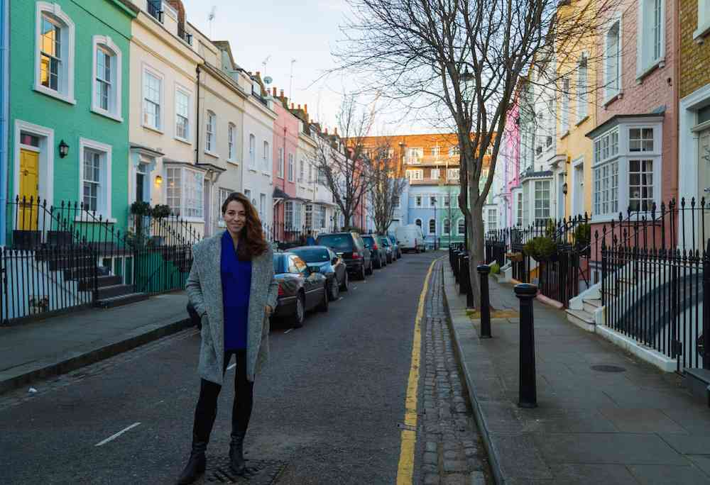 Exploring London - colorful Bywater Road in Chelsea.