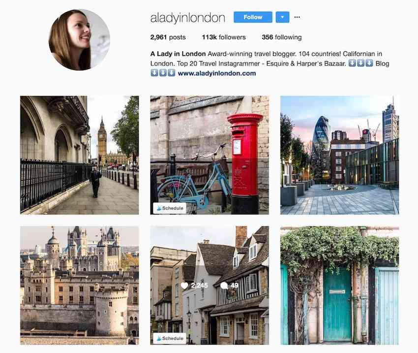 Lady in London Instagram