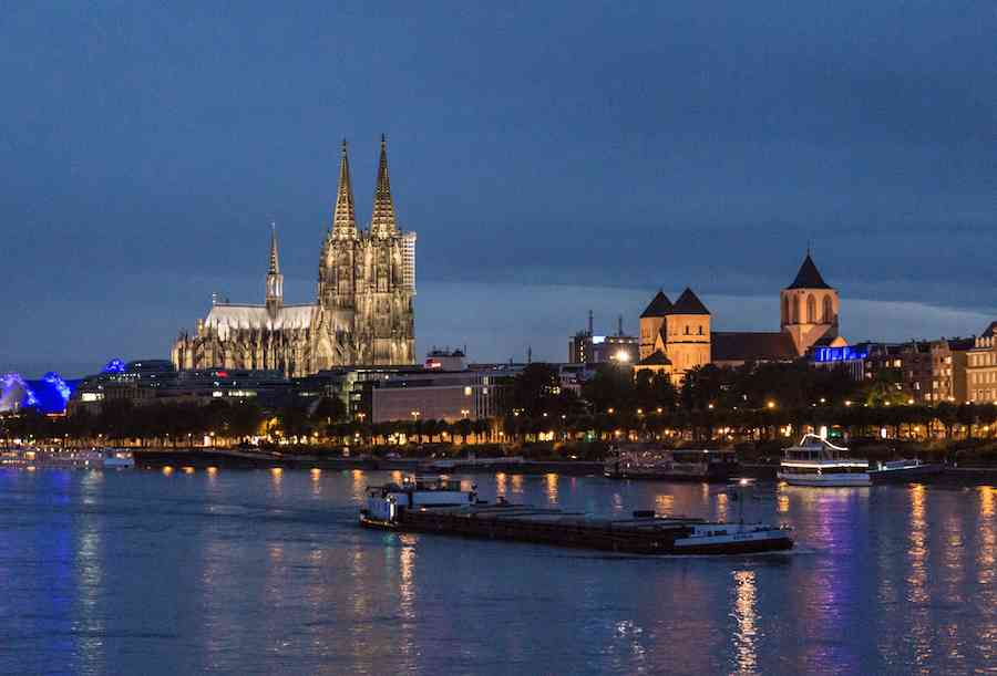 Cologne Rhine River Night
