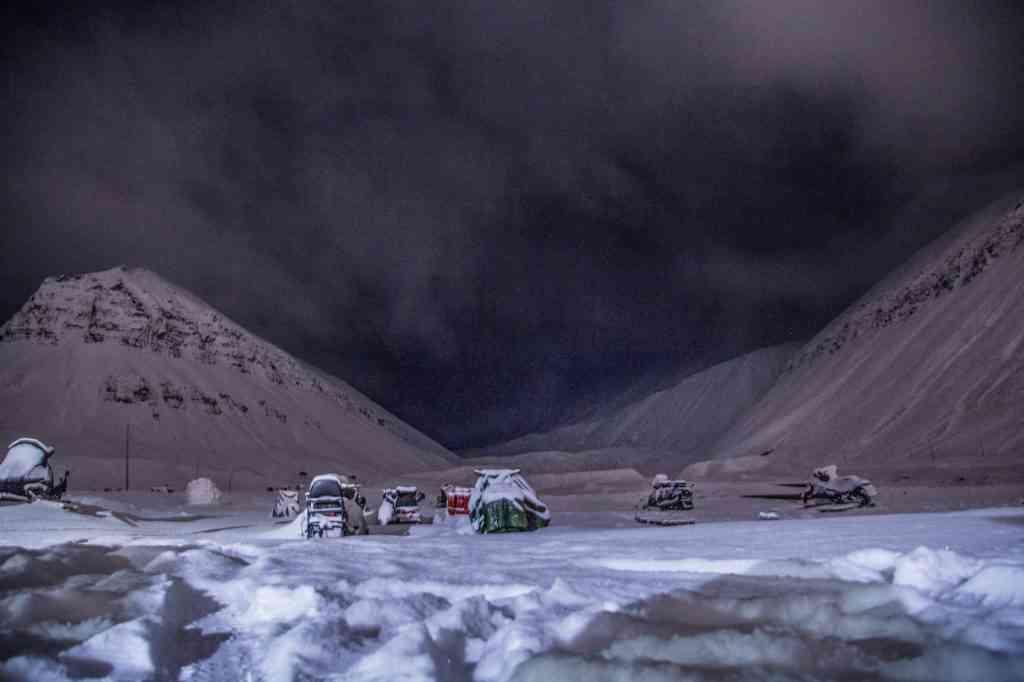 Parked snowmobiles in Longyearbyen, Svalbard