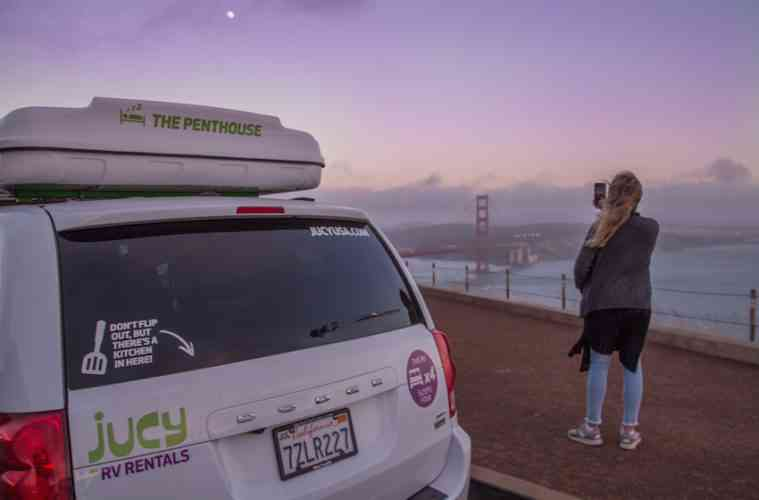JUCY campervan San Francisco sunset