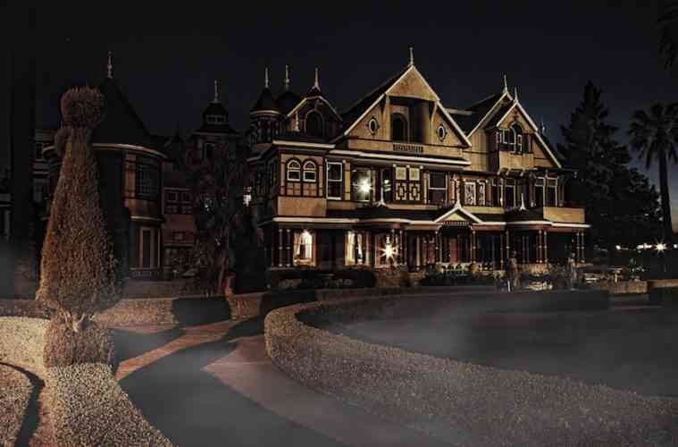 Winchester House at night