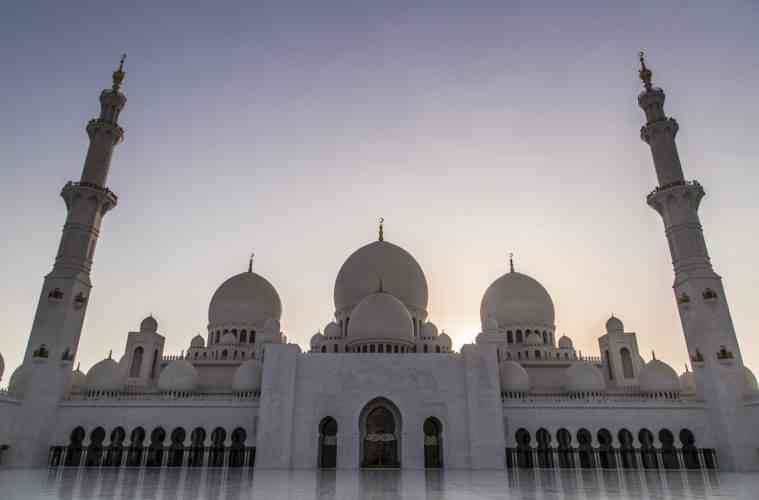 Sunset over Sheikh Zayed Mosque