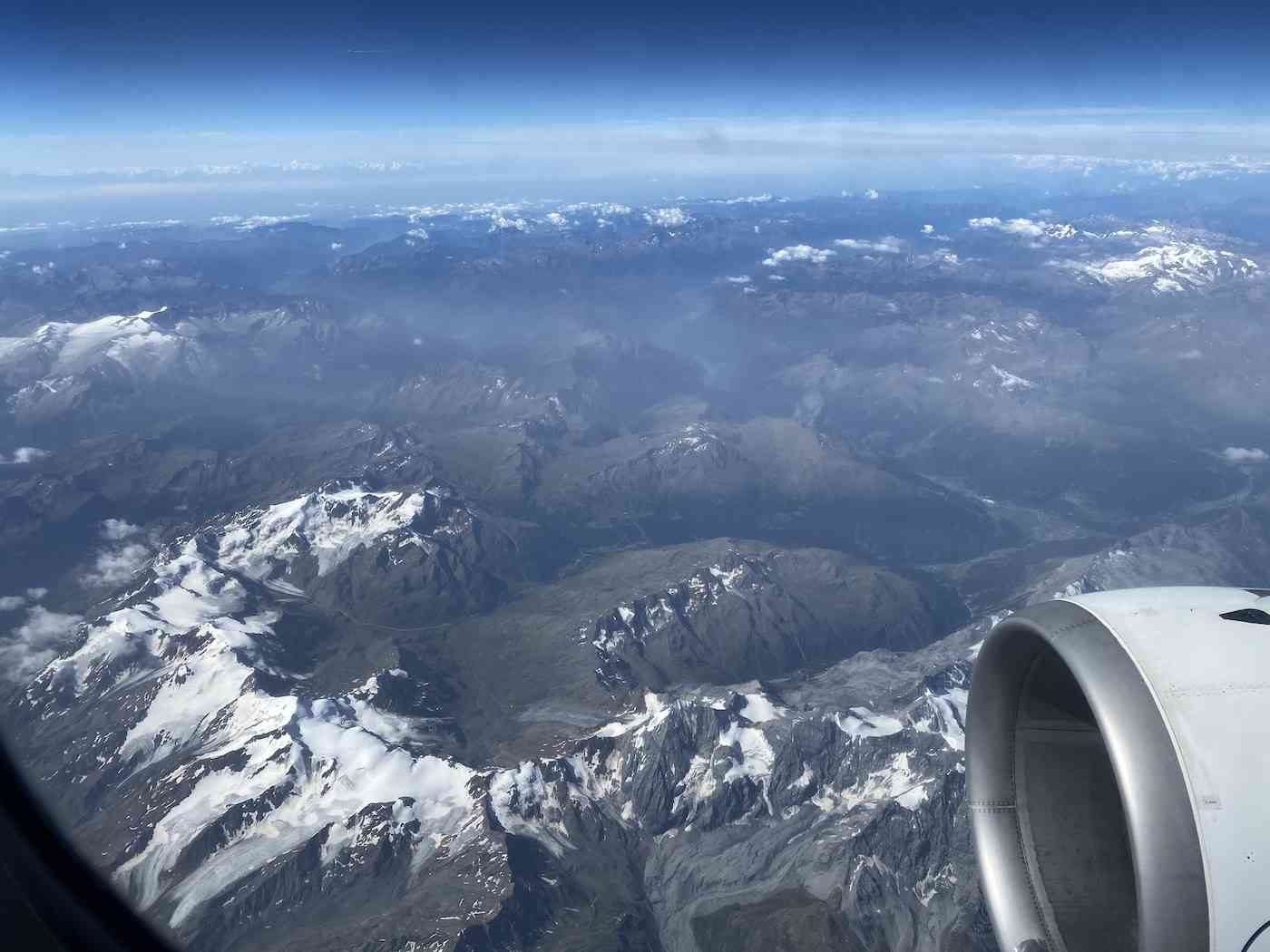 Travel During COVID - flying over Alps