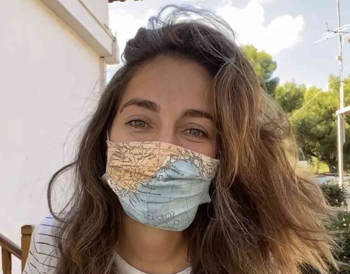 Wearing my travel mask