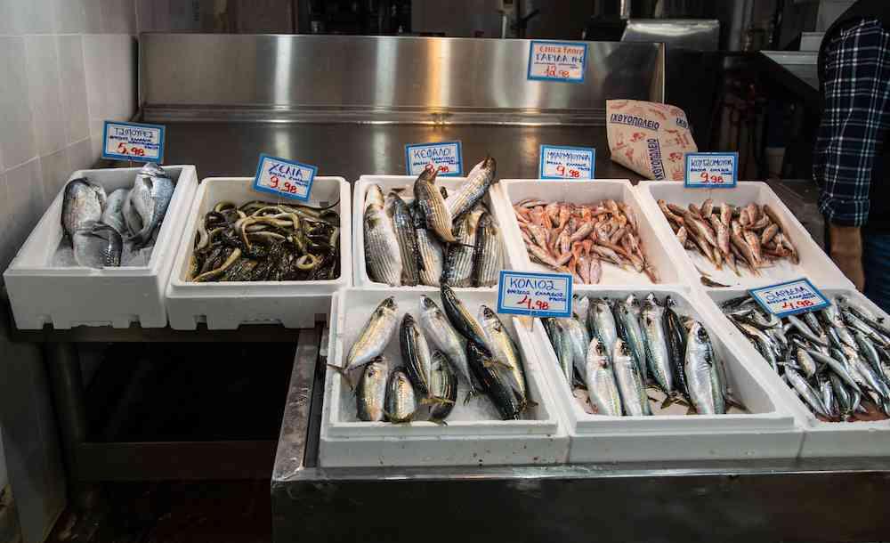 Fresh fish at Athens Central Market