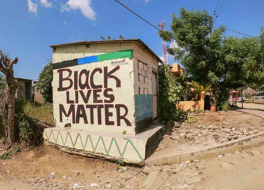 Black Lives Matter painted on a wall in Palenque