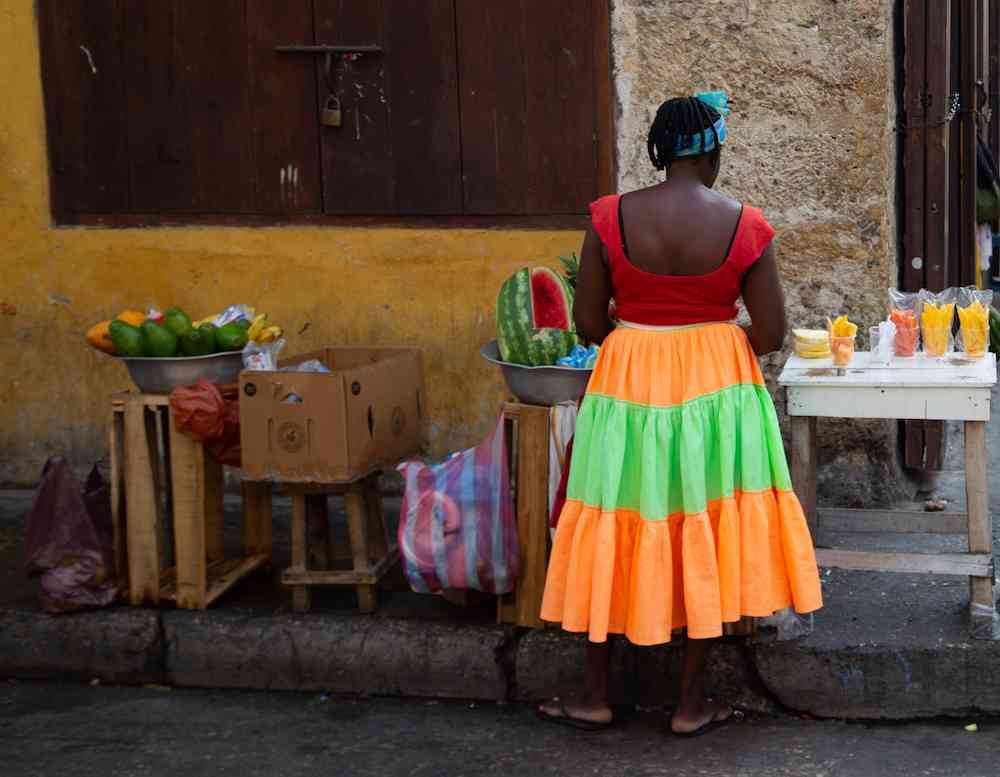 A Palenquera in the streets of Cartagena, Colombia